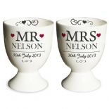 China Egg Cup Set, Mr & Mrs PERSONALISED ref CEC2